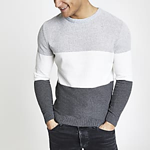 Grey block muscle fit knit sweater
