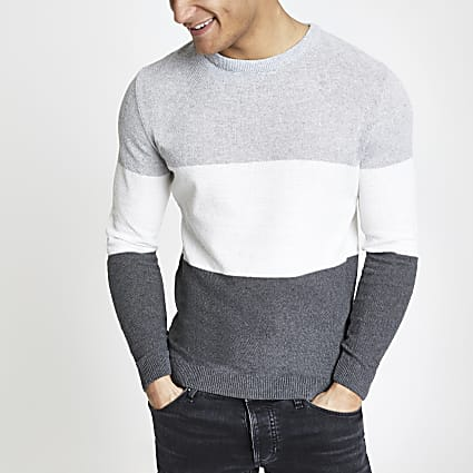 Grey block muscle fit knit jumper