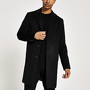 Black button front overcoat
