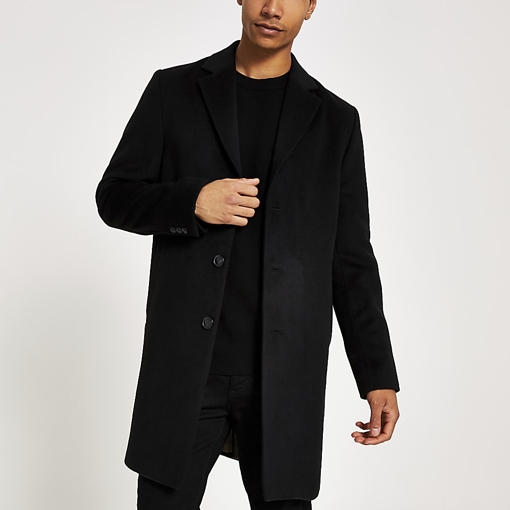 Black single breasted overcoat