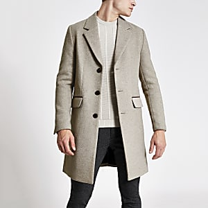 Oatmeal single breasted wool overcoat