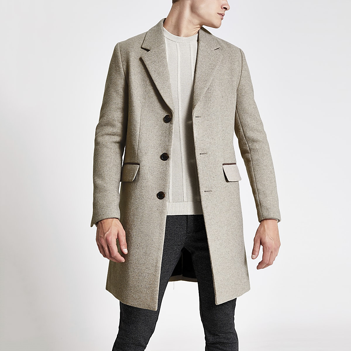Light brown single breasted wool overcoat