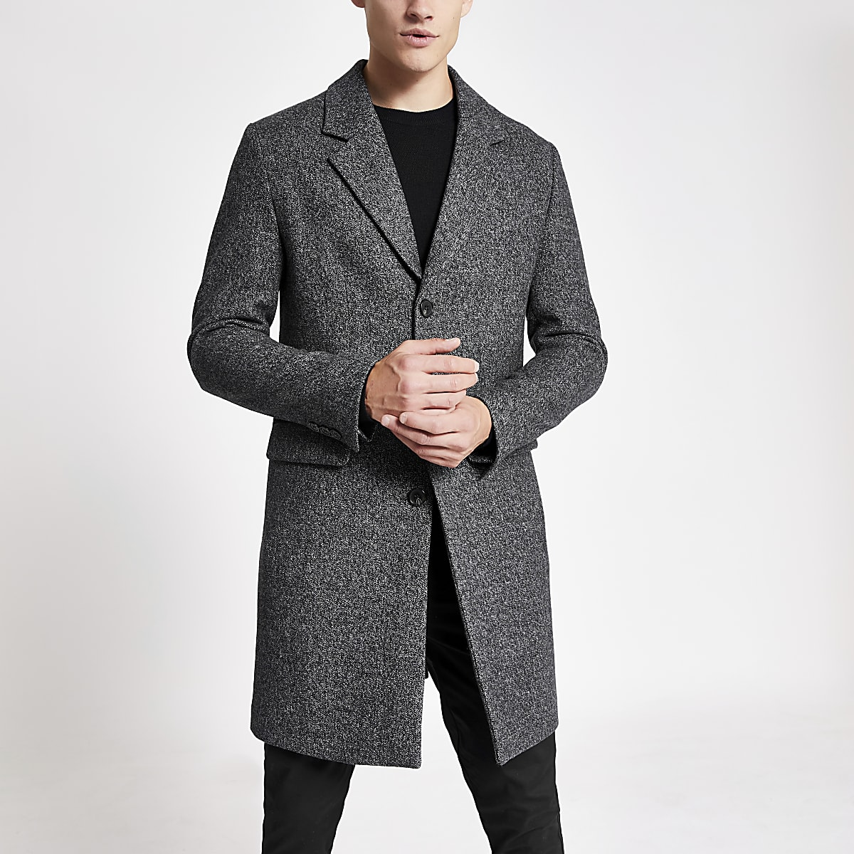 Charcoal grey single breasted wool overcoat