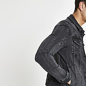 Black muscle fit rip and repair denim jacket