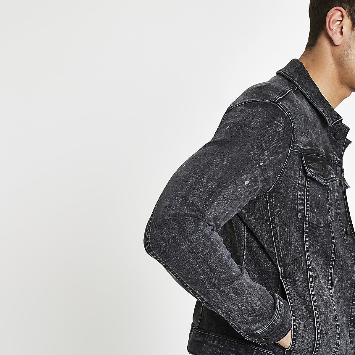 Black muscle fit rip and repair denim jacket