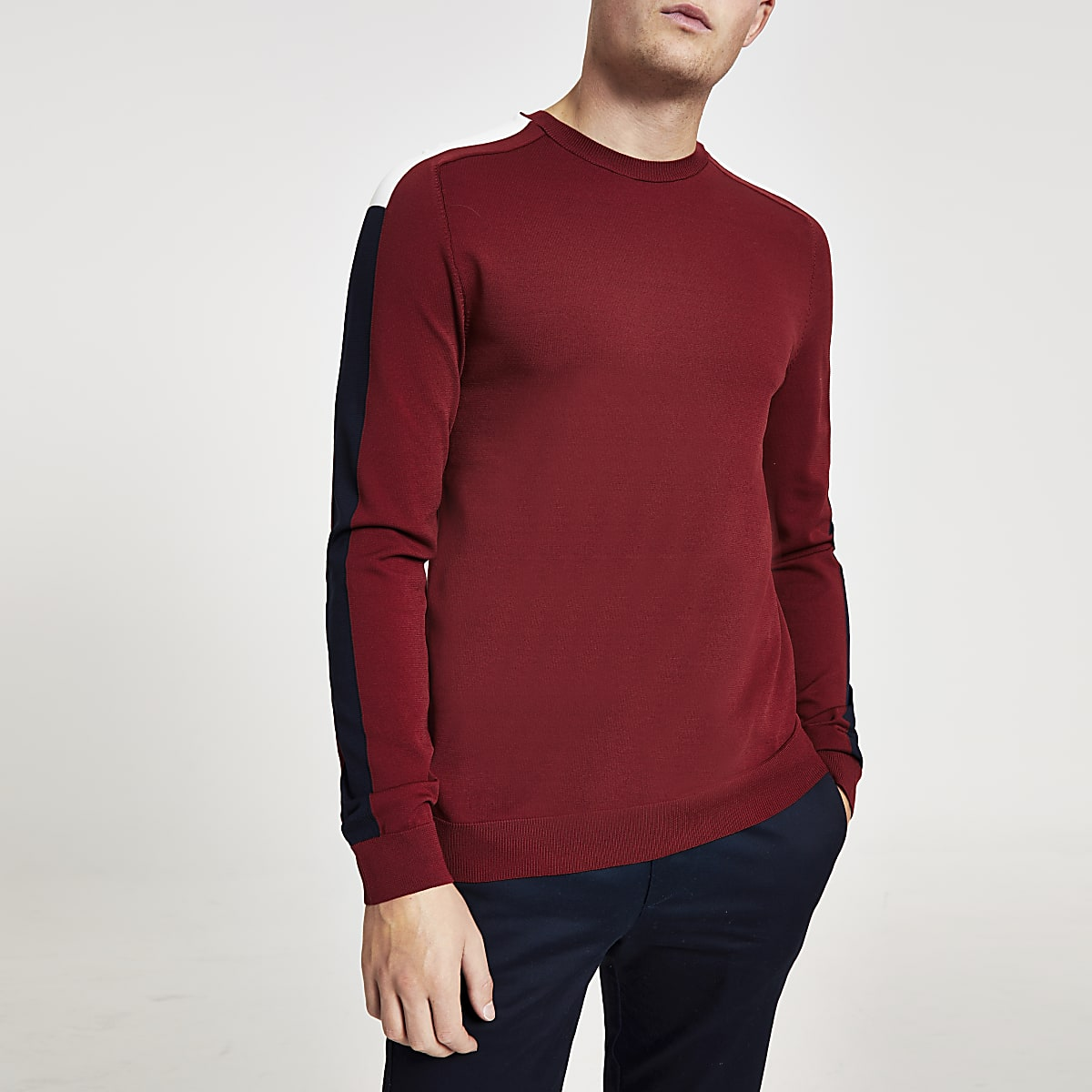 Burgundy slim fit long sleeve stripe jumper
