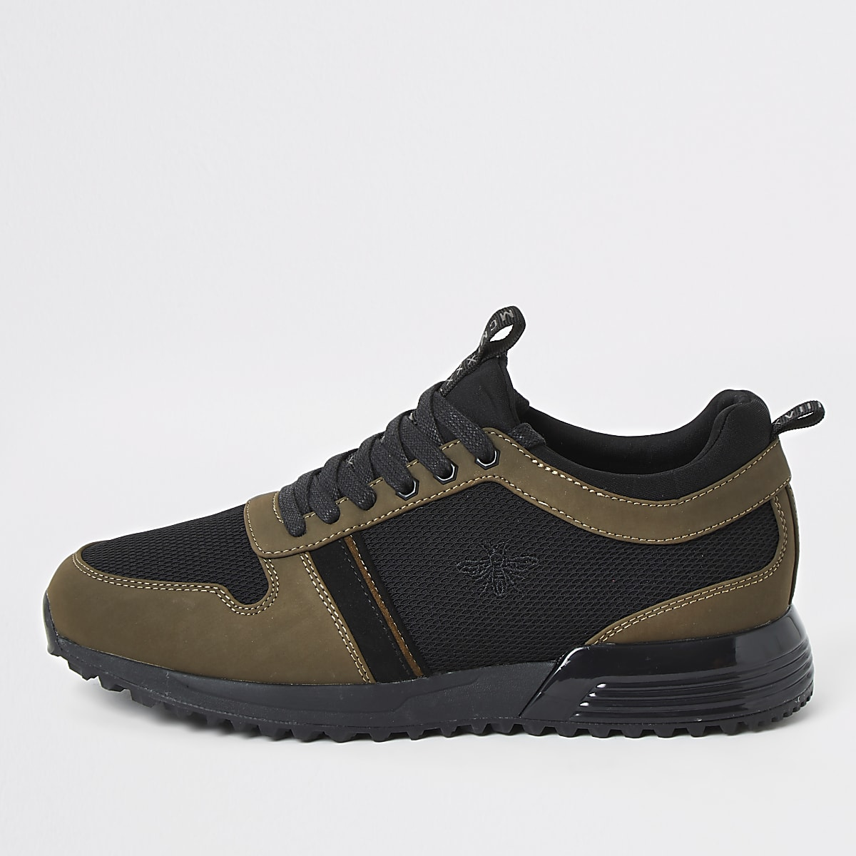Khaki lace-up runner trainers