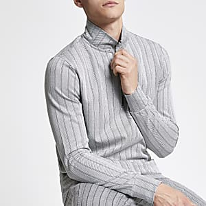 Grey slim fit herringbone funnel neck top