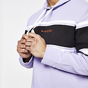 Wrangler - Lichtpaarse hoodie met kleurvlakken