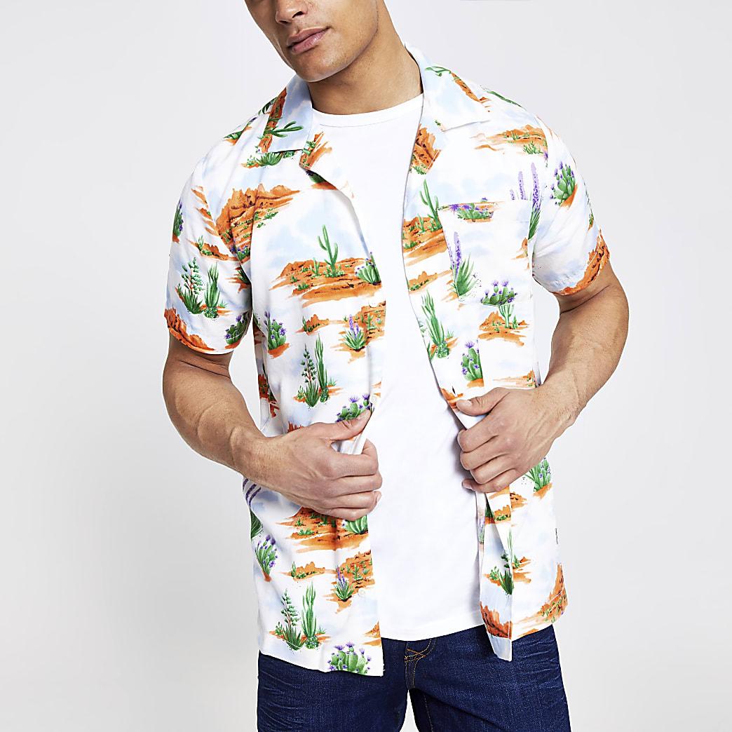 Wrangler - Wit overhemd met cactusprint en normale pasvorm