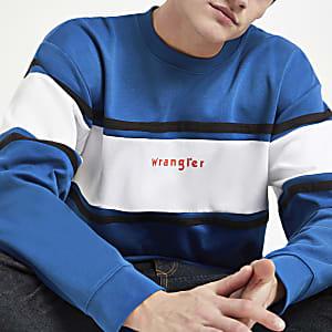 Wrangler - Blauw sweatshirt met kleurvlakken