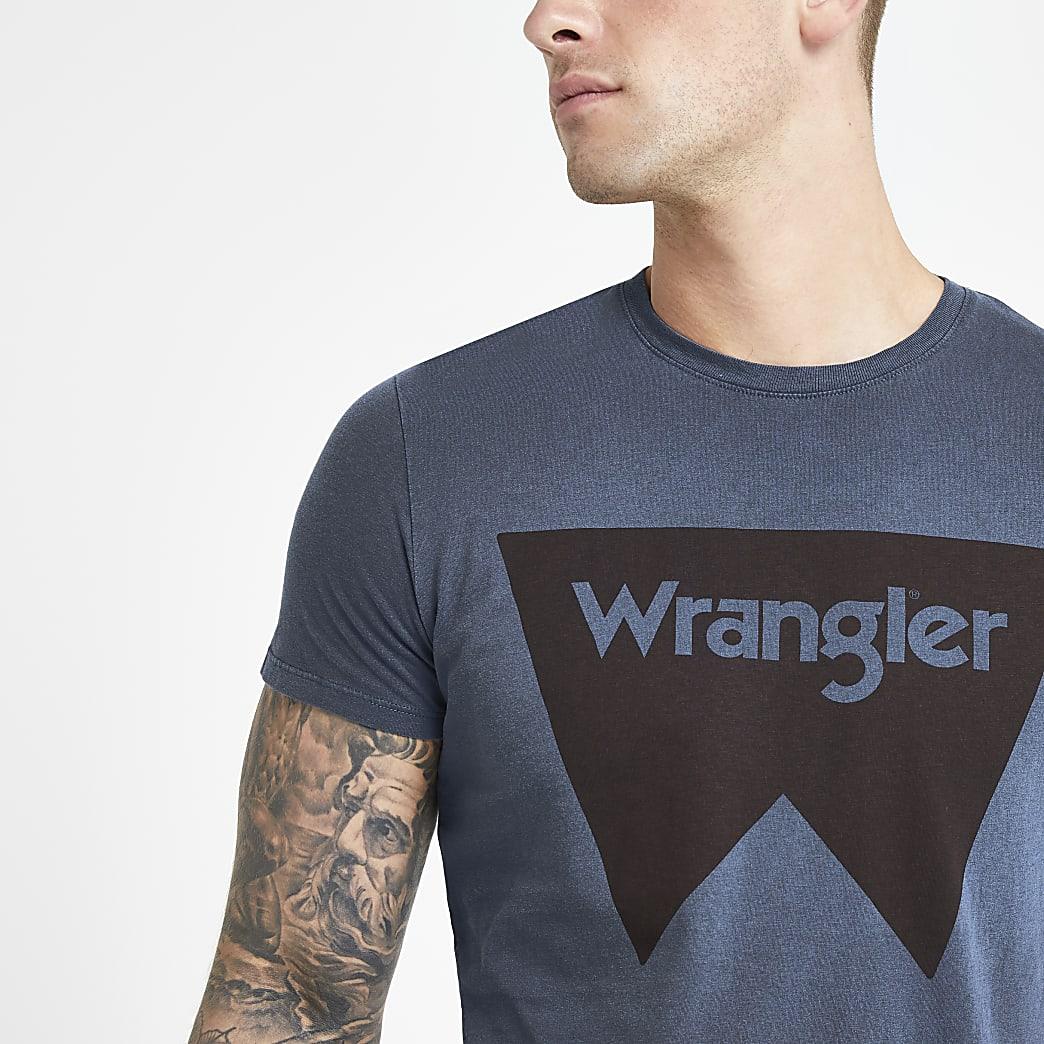 Wrangler - Marineblauw T-shirt met logoprint