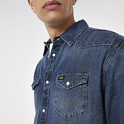 Wrangler blue western long sleeve denim shirt