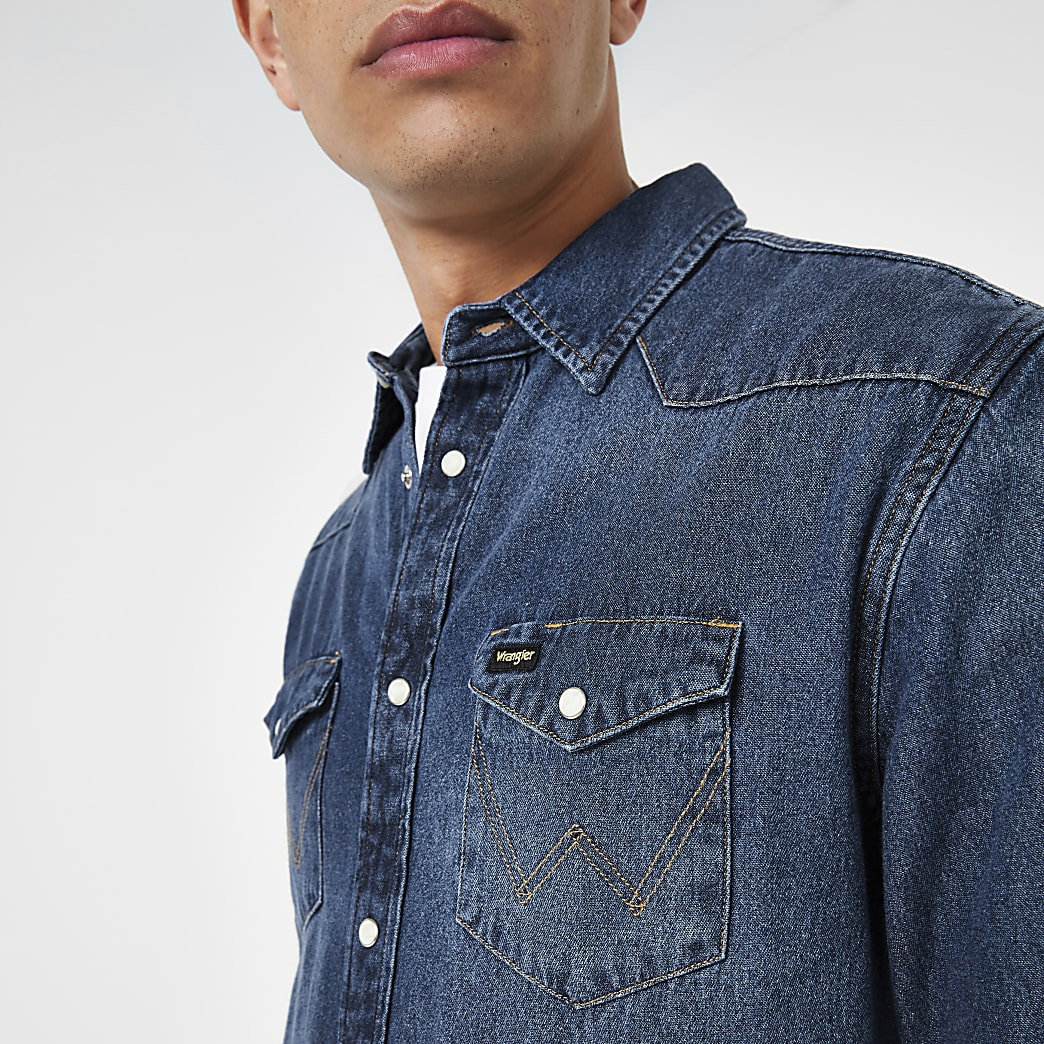 Wrangler blue western regular fit denim shirt
