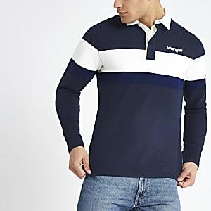 Wrangler - Blauw rugbyshirt