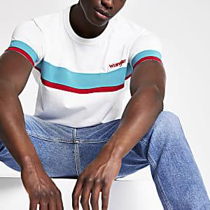Wrangler - Wit T-shirt met kleurvlakken