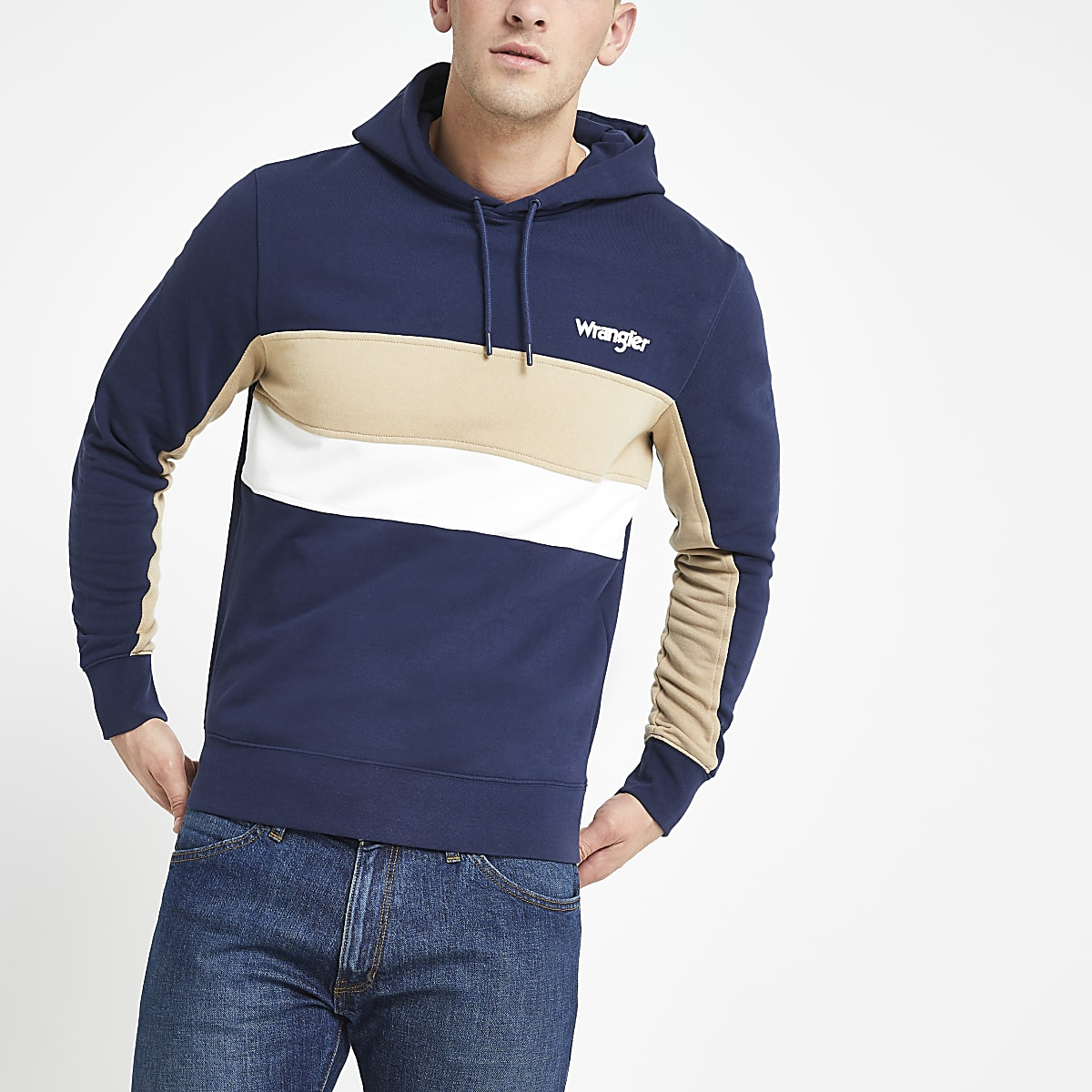 Wrangler – Sweat bleu marine effet colour block à capuche