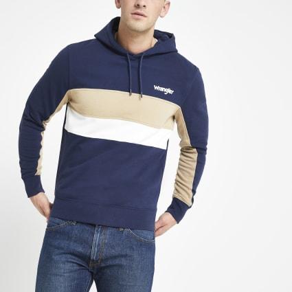 Wrangler navy block hoodie