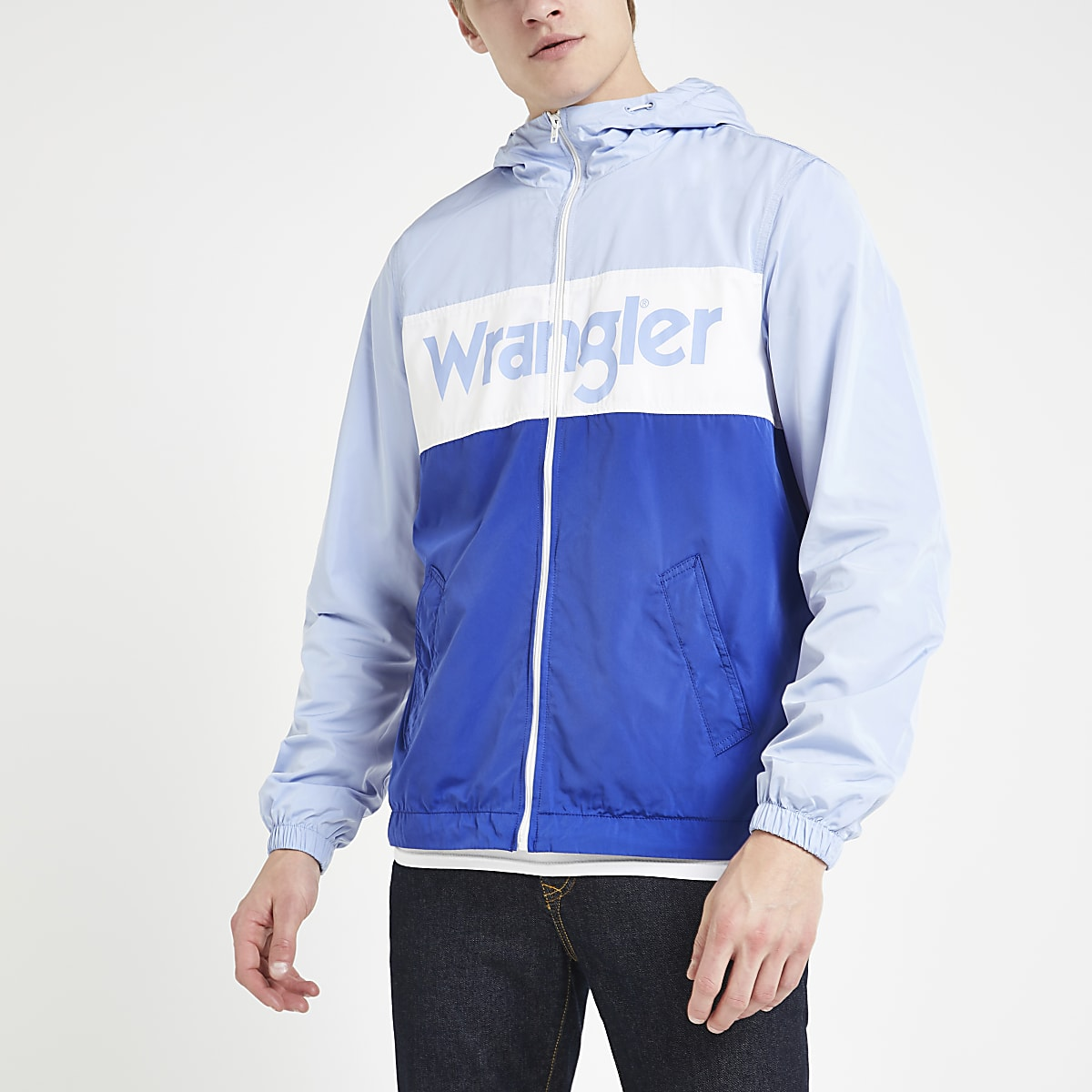 Wrangler light blue windbreaker jacket