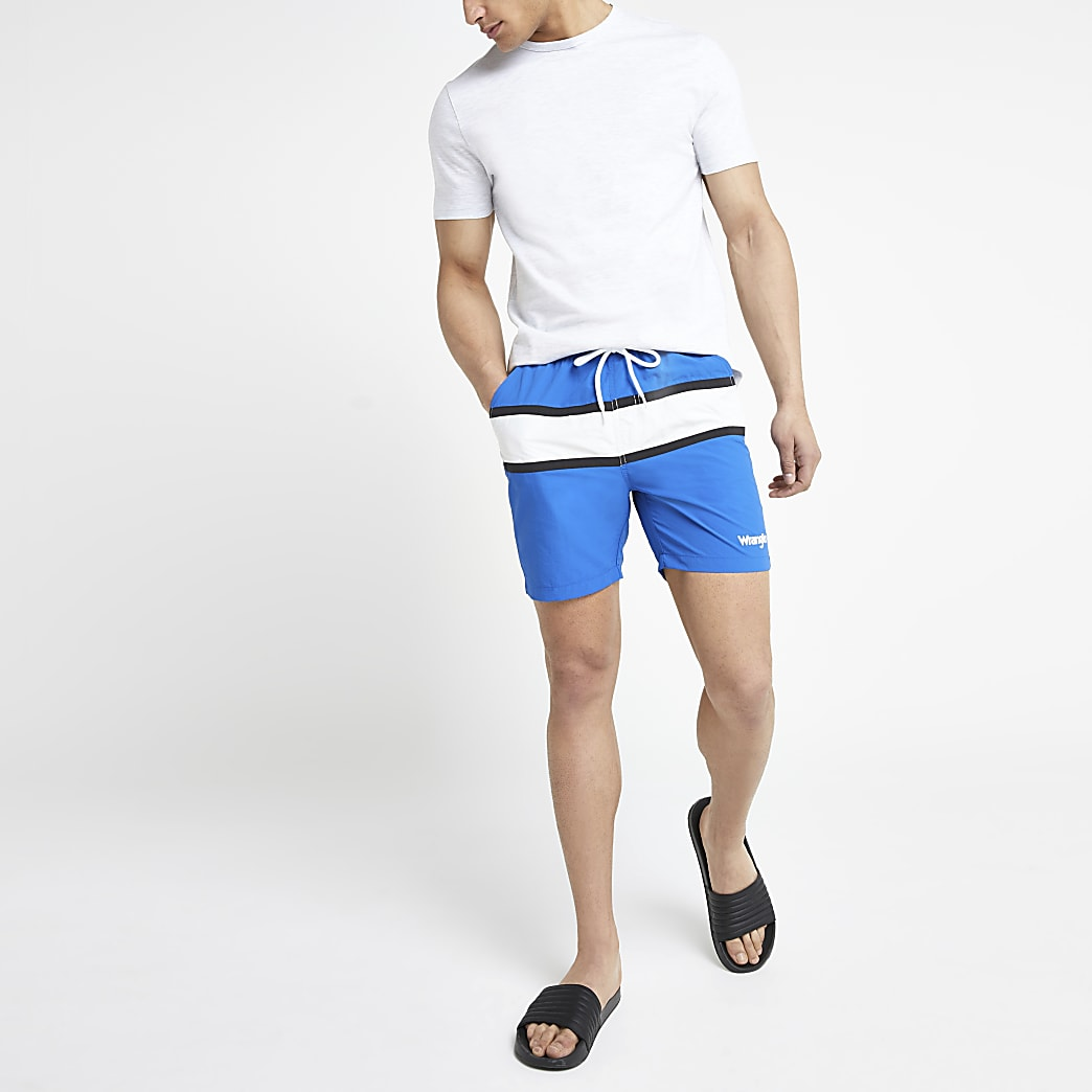 Wrangler – Short de bain rayé bleu
