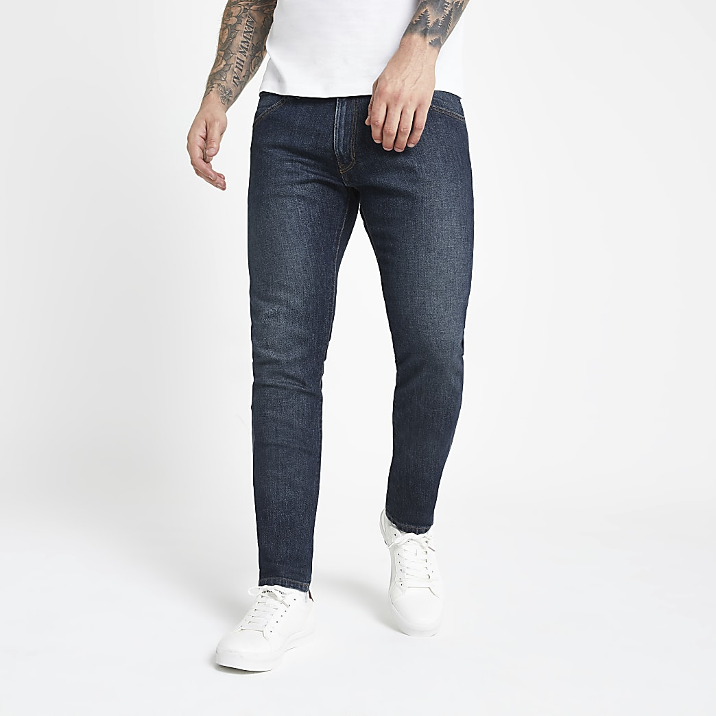 Wrangler - Donkerblauwe skinny-fit jeans