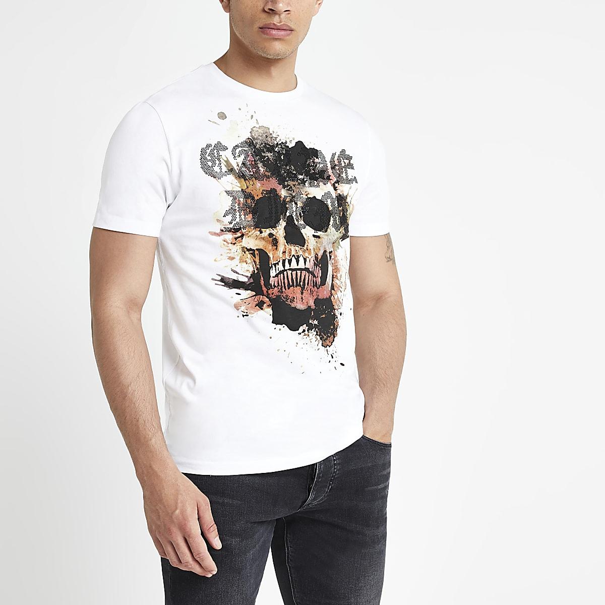 White slim fit skull embellished T-shirt