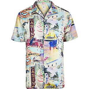 Big and Tall ecru Miami print shirt
