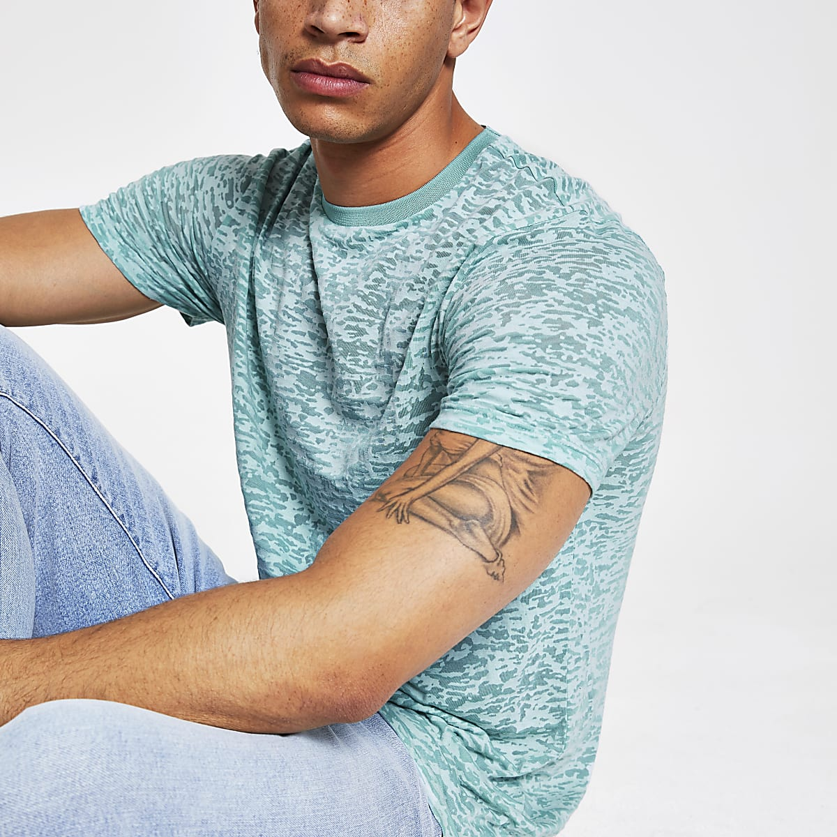 Blue print slim fit T-shirt