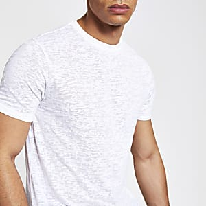 White print slim fit T-shirt