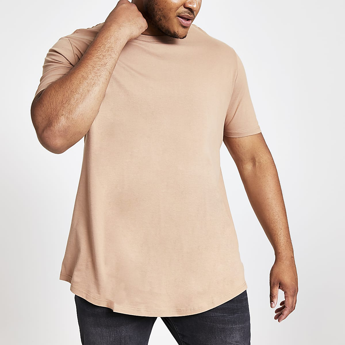 Big and Tall – T-shirt marron à ourlet arrondi
