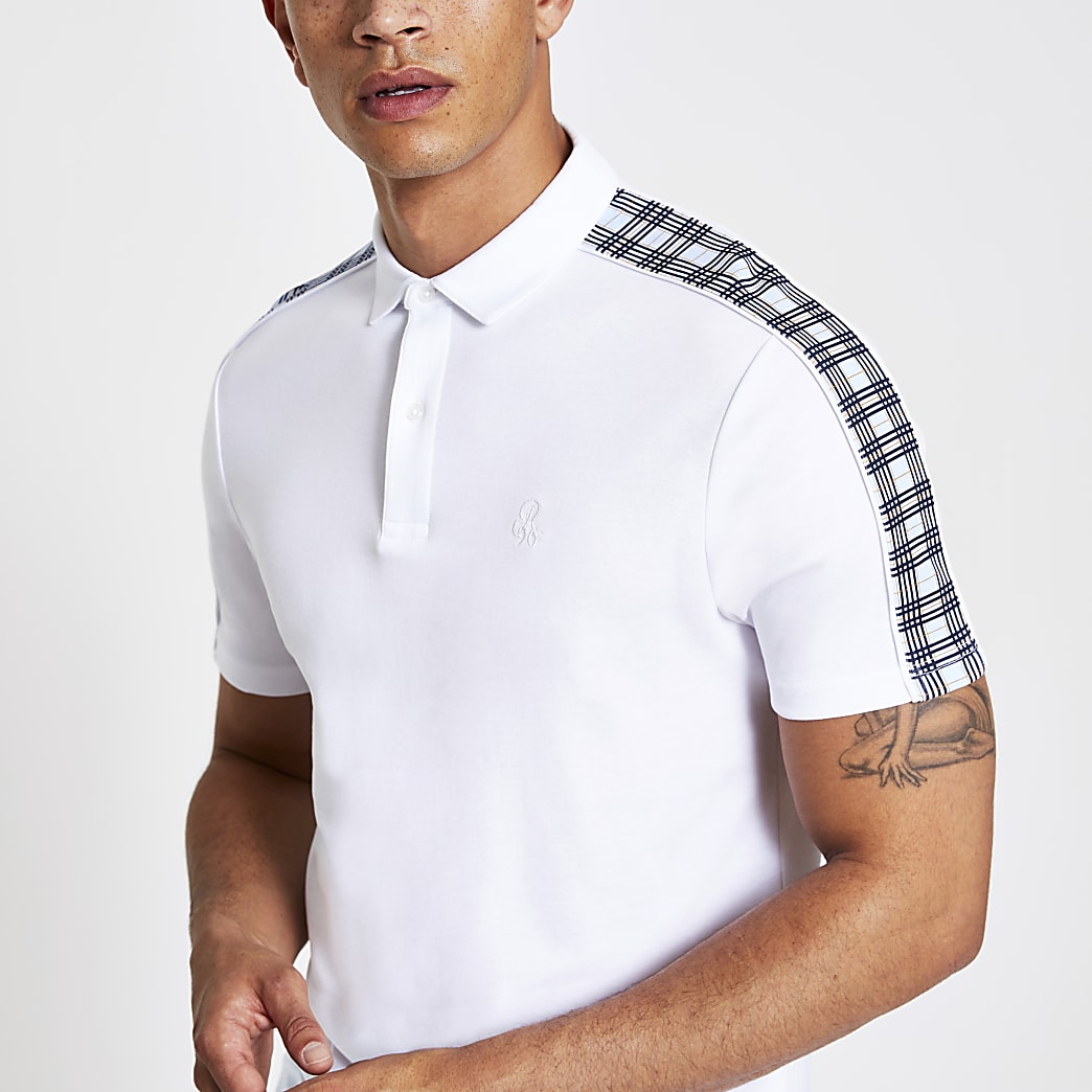 Weißes Muscle Fit Polohemd