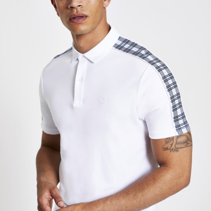 White check muscle fit polo shirt