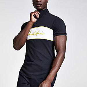 Marineblauw aansluitend T-shirt met opstaande kraag en prolific-print