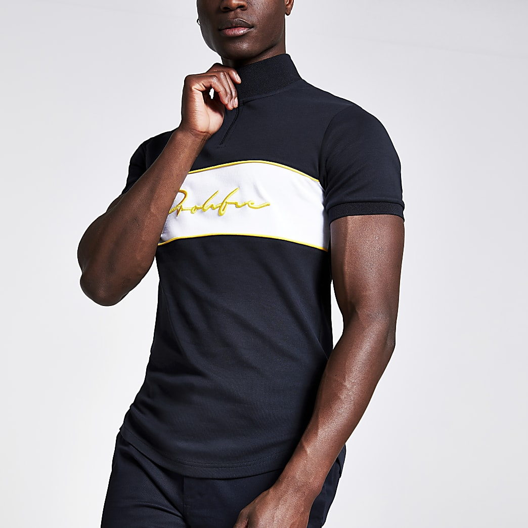 Navy prolific muscle fit funnel neck T-shirt