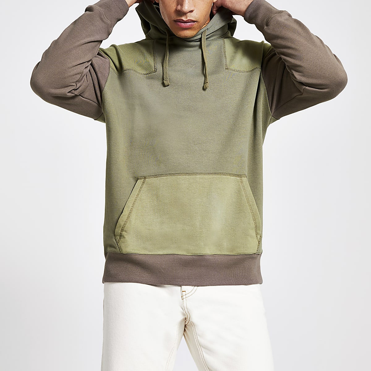 Green oversized fit utility hoodie
