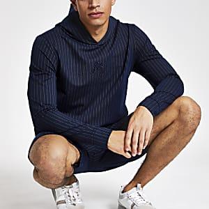 Navy pin stripe slim fit hoodie