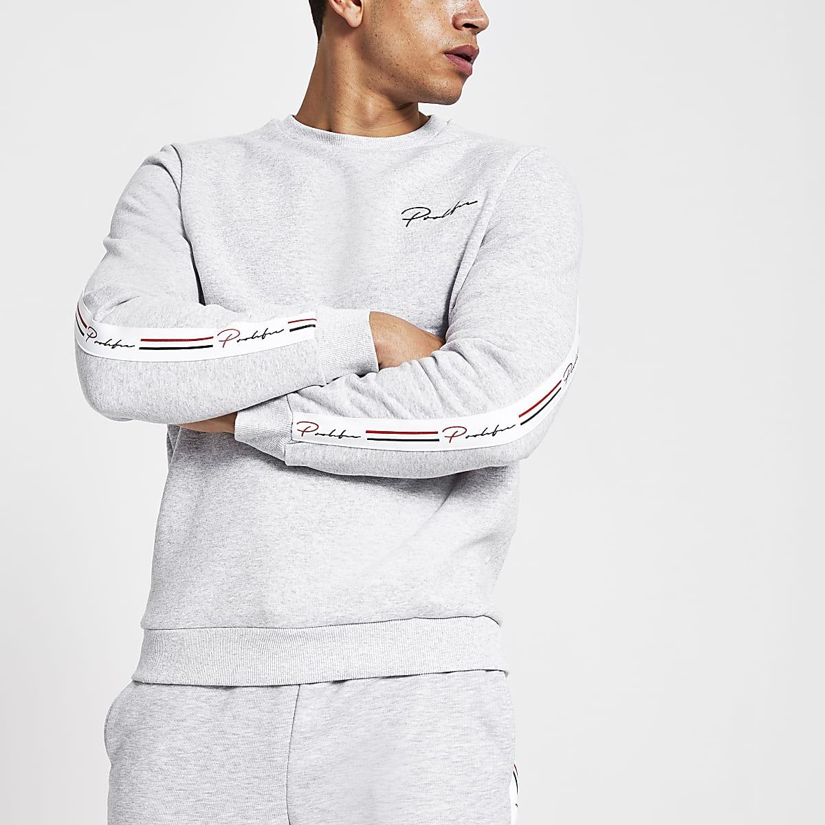 Prolific - Grijs gemêleerd slim-fit sweatshirt