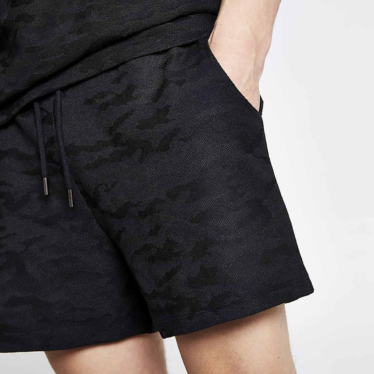 Black camo slim fit textured jersey shorts
