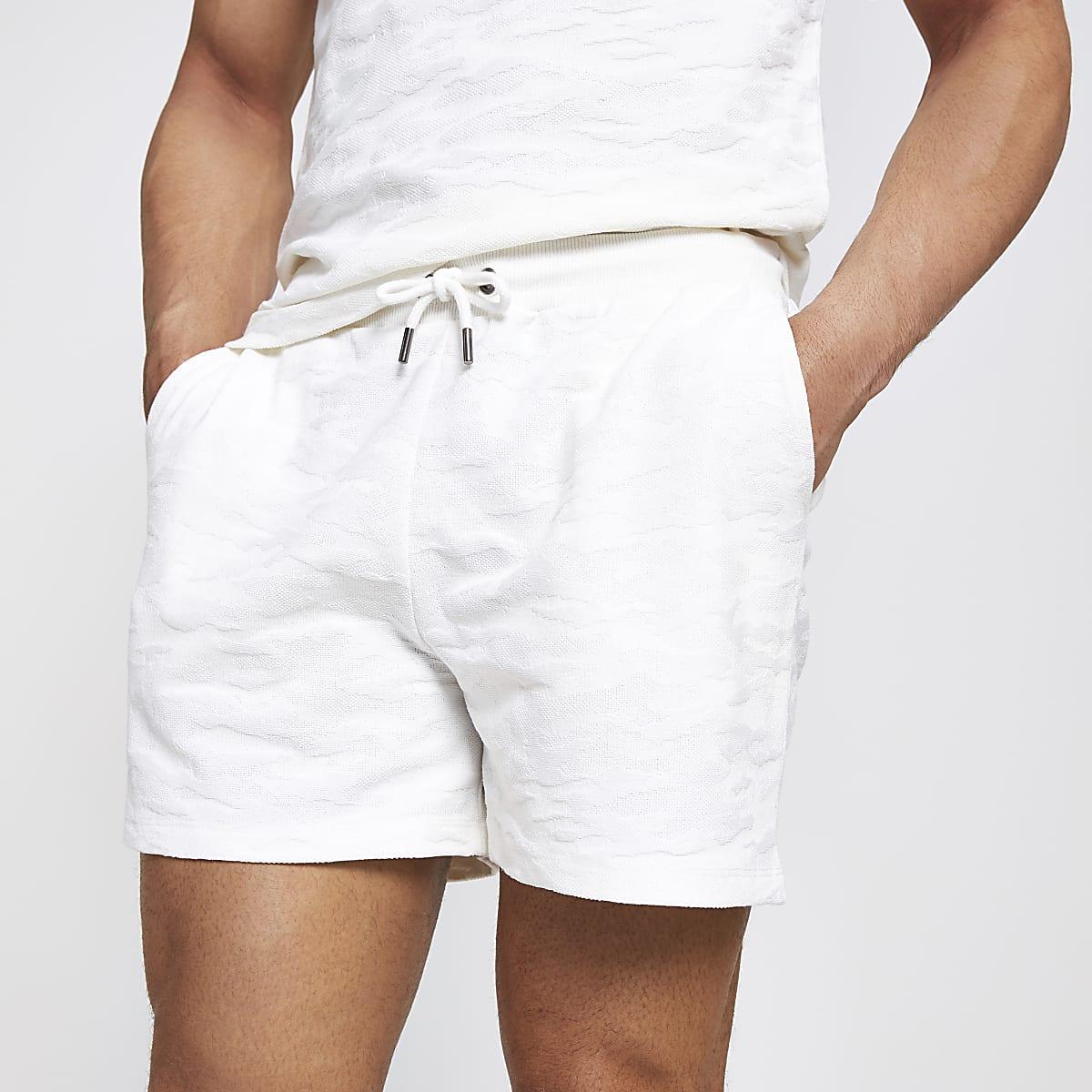 Ecru camo slim fit textured jersey shorts