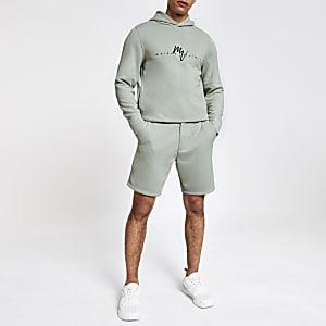 Lichtgroene slim-fit tailored short