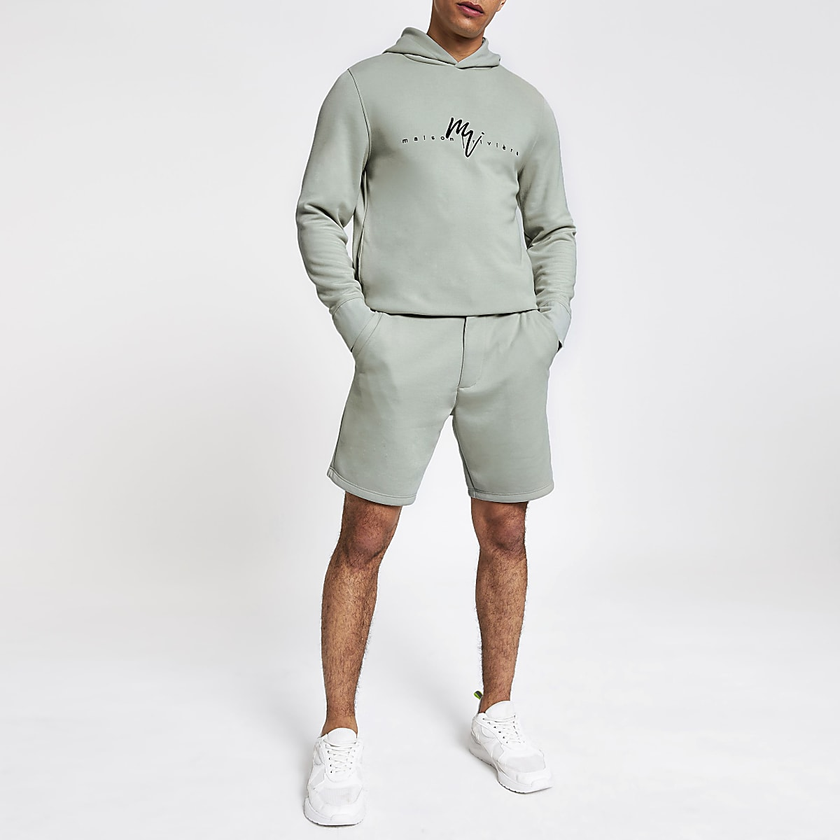 Light green slim fit tailored shorts