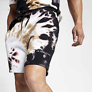 Brown tie dye slim fit jersey shorts