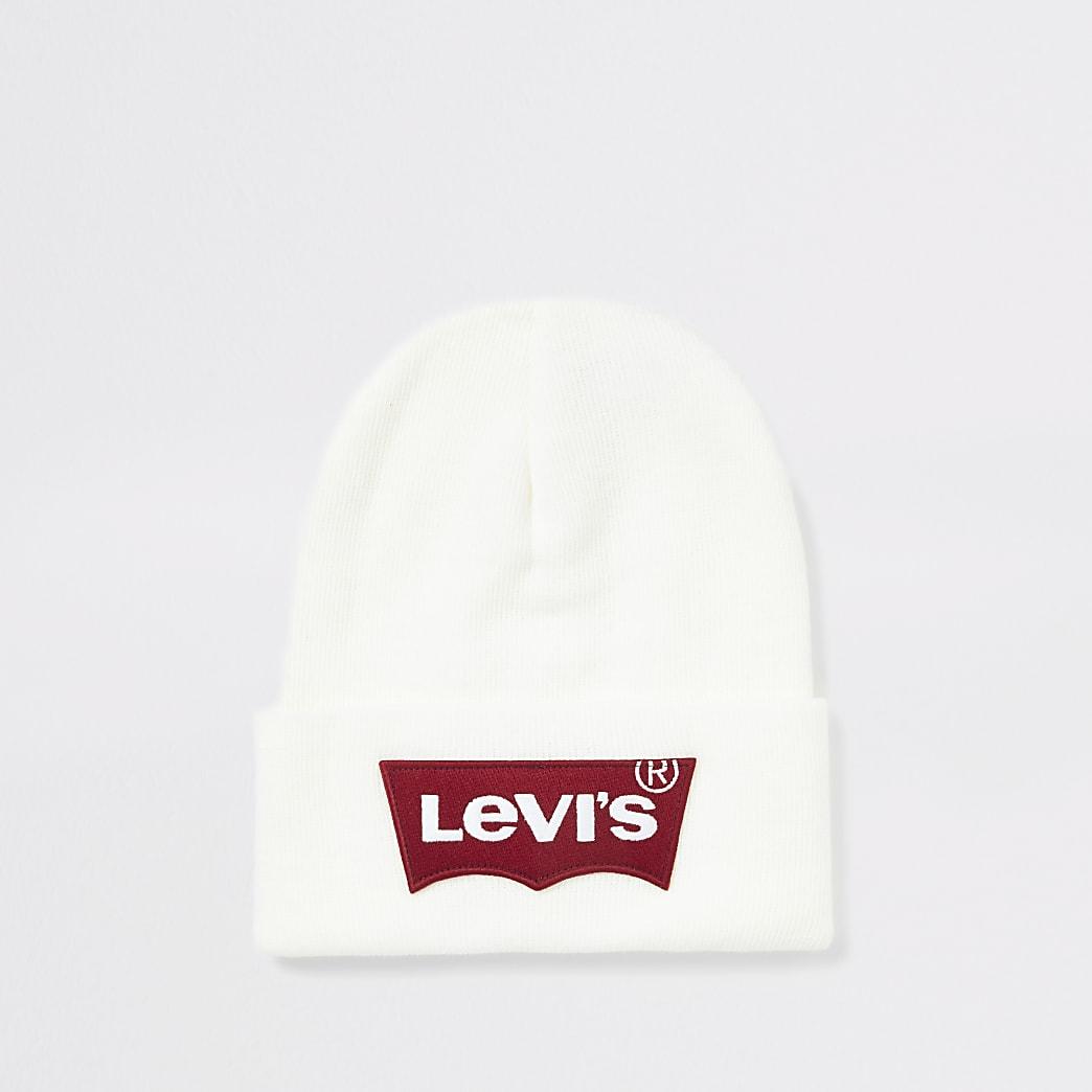 Levi's white logo beanie hat