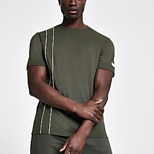 Khaki slim fit piped T-shirt