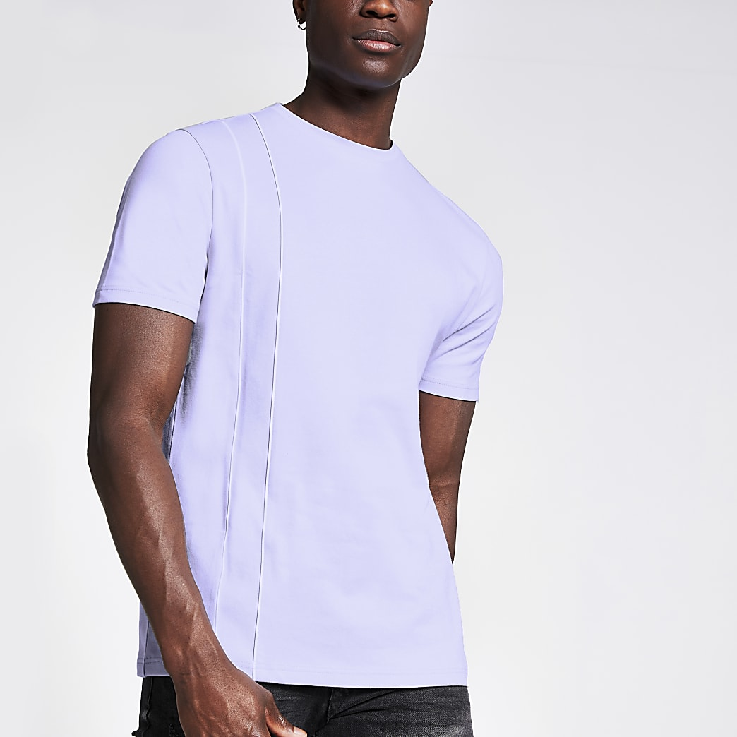 Lila slim-fit T-shirt met bies
