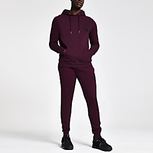 R96 Muscle Fit Hoodie in Bordeauxrot