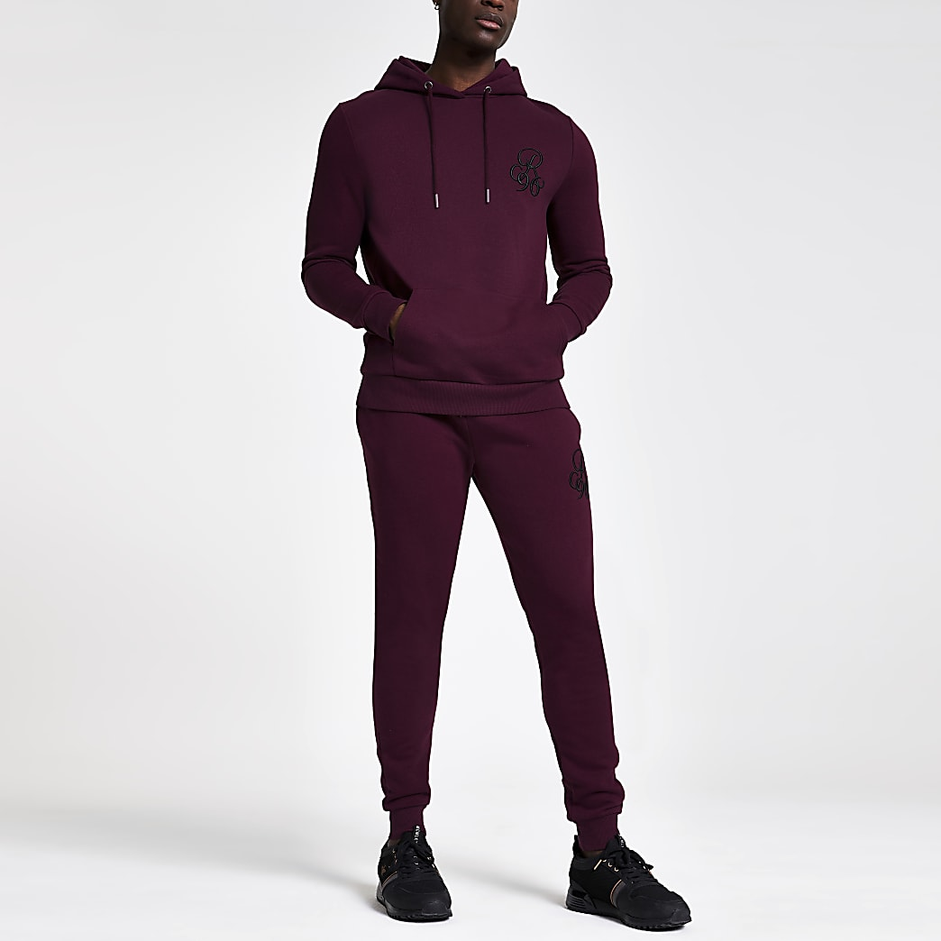 Sweat à capuche ajusté R96 bordeaux