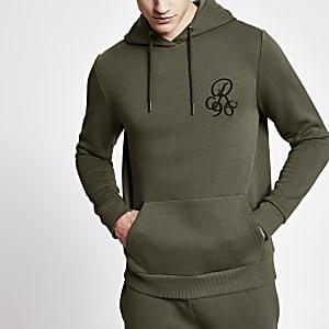 R96 - Kaki aansluitende hoodie