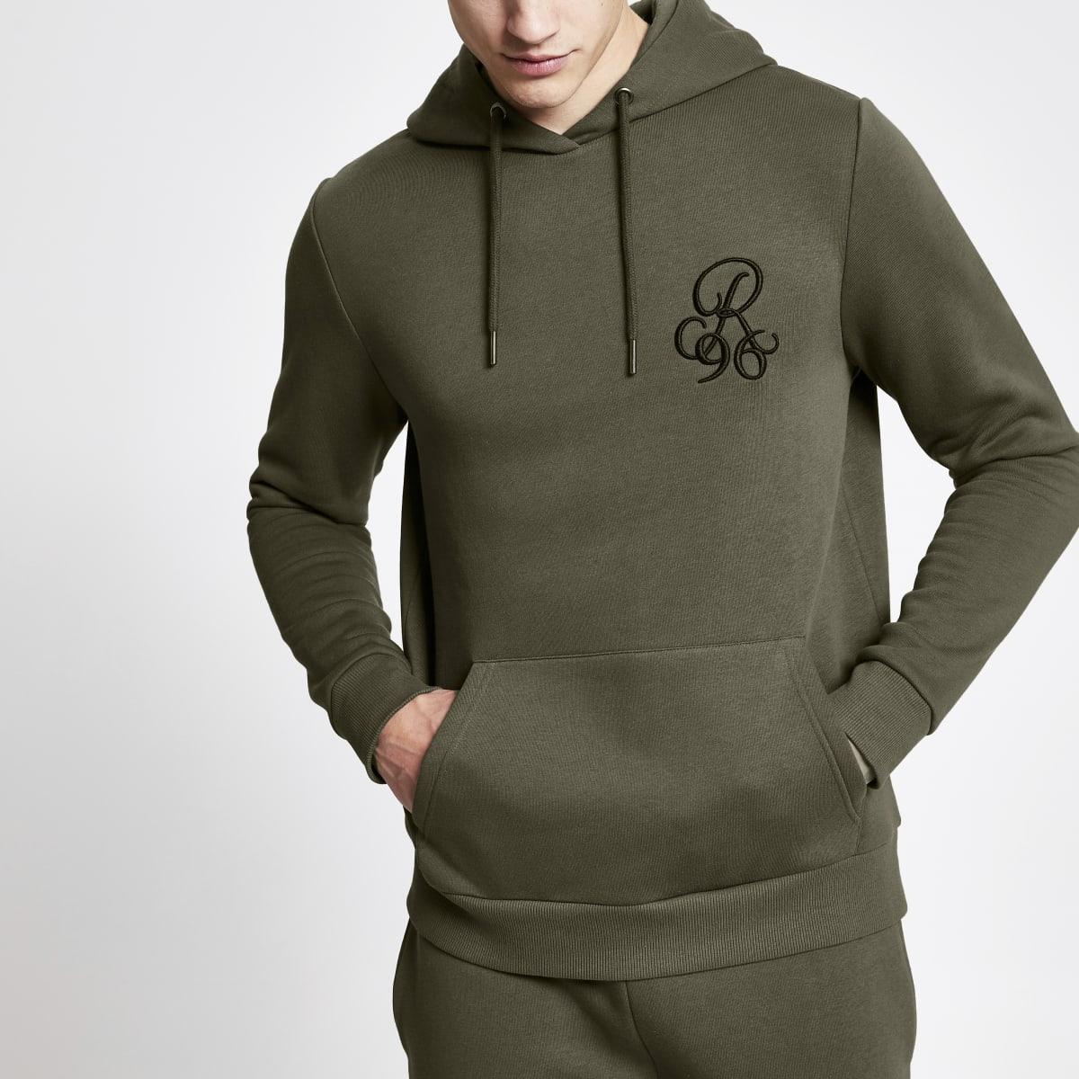 R96 khaki muscle fit hoodie