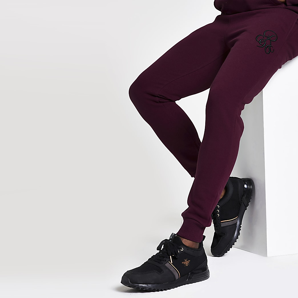 Burgundy R96 muscle fit joggers